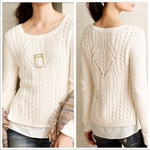 Anthro Moth Ella Cream Cable Knit Layered Sweater